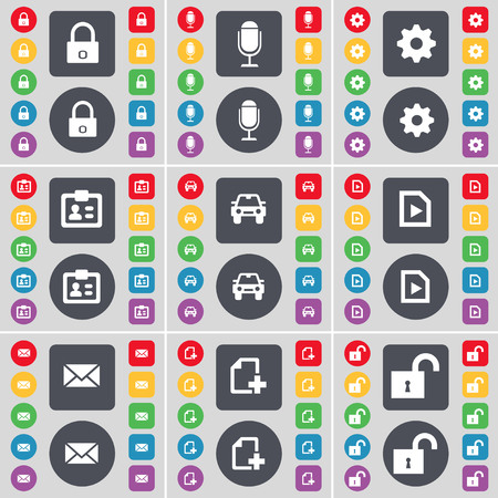 addition: Lock, Microphone, Gear, Contact, Auto, Play document, Message, Addition icon symbol. A large set of flat, colored buttons for your design. illustration