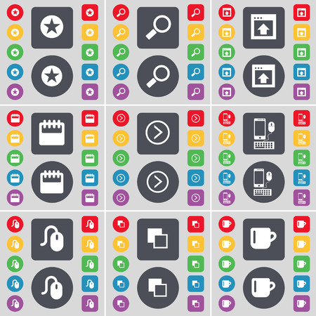 starr: Starr, Magnifying glass, Window, Calendar, Arrow right, Smartphone, Mouse, Copy, Cup icon symbol. A large set of flat, colored buttons for your design. illustration