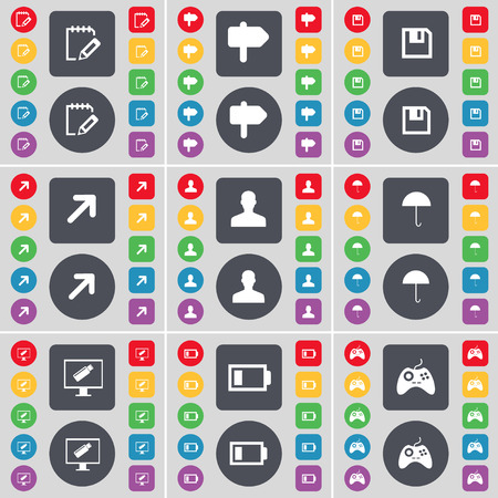 full screen: Notebook, Signpost, Floppy, Full screen, Silhouette, Umbrella, Monitor, Battery Low, Gamepad icon symbol. A large set of flat, colored buttons for your design. illustration