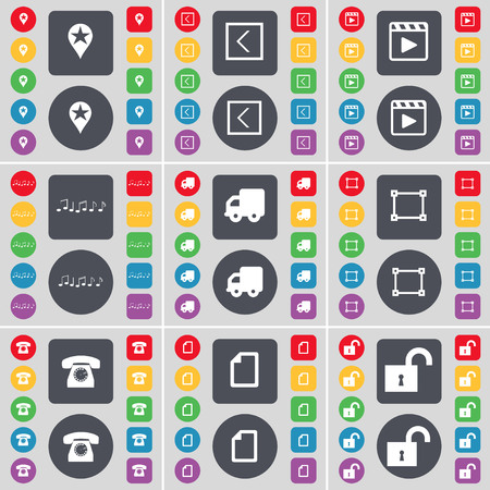 media player: Checkpoint, Arrow left, Media player, Note, Truck, Frame, Retro phone, File, Lock icon symbol. A large set of flat, colored buttons for your design. illustration