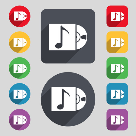 cd player: cd player icon sign. A set of 12 colored buttons and a long shadow. Flat design.