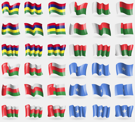 Mauritius, Madagascar, Oman, Somalia. Set of 36 flags of the countries of the world. illustration Фото со стока