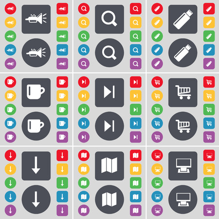 skip: Trumped, Magnifying glass, USB, Cup, Media skip, Shopping cart, Arrow, Map, Monitor icon symbol. A large set of flat, colored buttons for your design. illustration