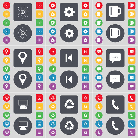 skip: Star, Gear, Cup, Checkpoint, Media skip, Chat bubble, Monitor, Recycling, Receiver icon symbol. A large set of flat, colored buttons for your design. illustration Stock Photo