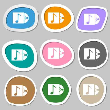 cd player: cd player icon sign. Multicolored paper stickers. illustration