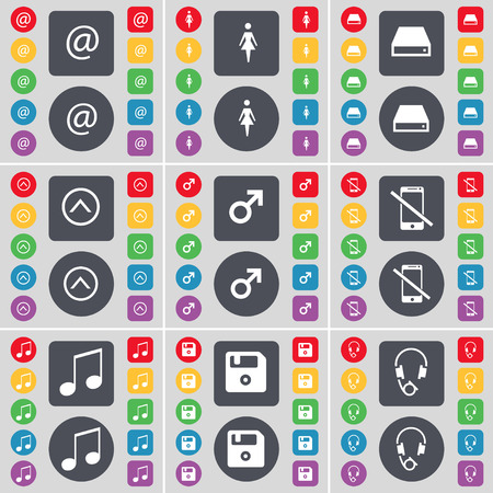 floppy drive: Mail, Silhouette, Hard drive, Arrow up, Mars symbol, Smartphone, Note, Floppy, Headphones icon symbol. A large set of flat, colored buttons for your design. illustration
