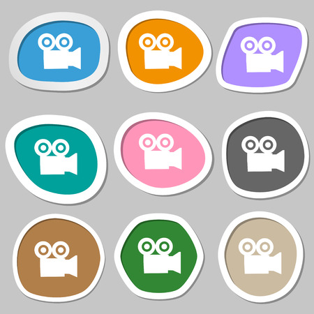 journalistic: video camera icon symbols. Multicolored paper stickers. illustration