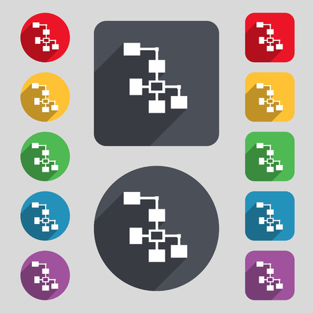 interconnect: Local Network icon sign. A set of 12 colored buttons and a long shadow. Flat design. Stock Photo
