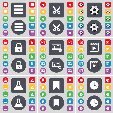 media player: Apps, Scissors, Ball, Lock, Picture, Media Player, Flask, Marker, Clock icon symbol. A large set of flat, colored buttons for your design. illustration Stock Photo