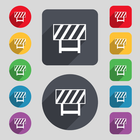 road barrier: road barrier icon sign. A set of 12 colored buttons and a long shadow. Flat design.