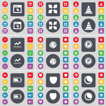 full screen: Window, Full screen, Cone, Graph, Pizza, Parking, Battery, Badge, Moon icon symbol. A large set of flat, colored buttons for your design. illustration