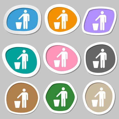 throw paper: throw away the trash icon symbols. Multicolored paper stickers. illustration