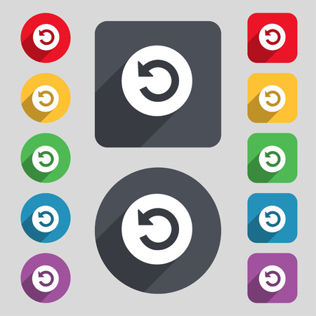 groupware: icon sign. A set of 12 colored buttons and a long shadow. Flat design.