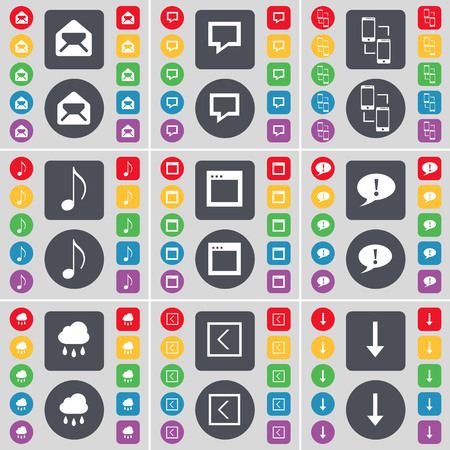 arrow down icon: Message, Chat bubble, Information exchange, Note, Window, Warning, Cloud, Arrow left, Arrow down icon symbol. A large set of flat, colored buttons for your design. illustration