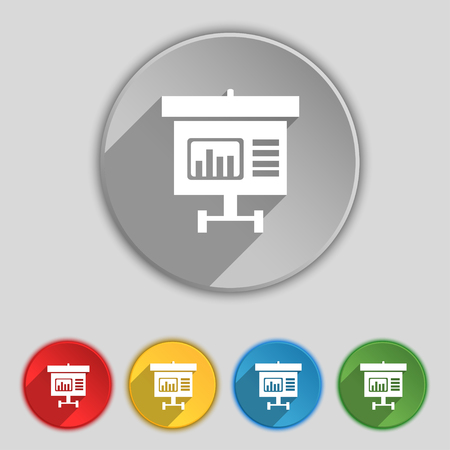 grow money: Graph icon sign. Symbol on five flat buttons. illustration