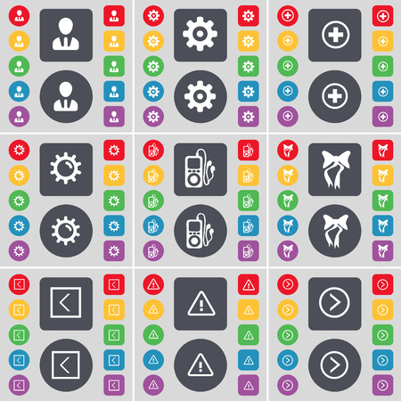 arrow right icon: Avatar, Gear, Plus, Gear, MP3 player, Bow, Arrow left, Warning, Arrow right icon symbol. A large set of flat, colored buttons for your design. illustration