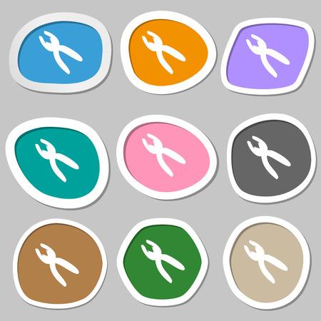 craftsmen repair: pliers icon sign. Multicolored paper stickers. illustration Stock Photo