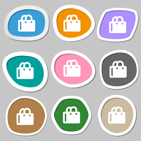 shopping bag icon: shopping bag icon symbols. Multicolored paper stickers. illustration