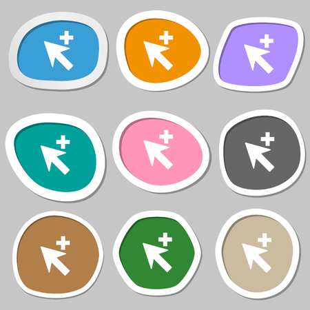 add icon: Cursor, arrow plus, add icon sign. Multicolored paper stickers. illustration