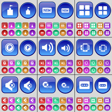 smartphone apps: Flag tower, New, Apps, Parking, Sound, Smartphone, Mute, DVD, Cassette. A large set of multi-colored buttons. illustration