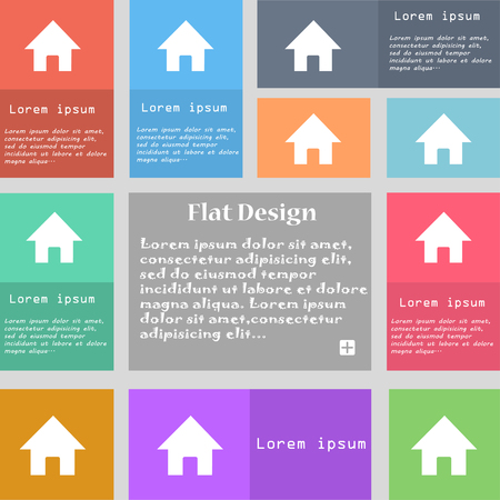 page long: Home, Main page icon sign. Set of multicolored buttons. Metro style with space for text. The Long Shadow illustration Stock Photo