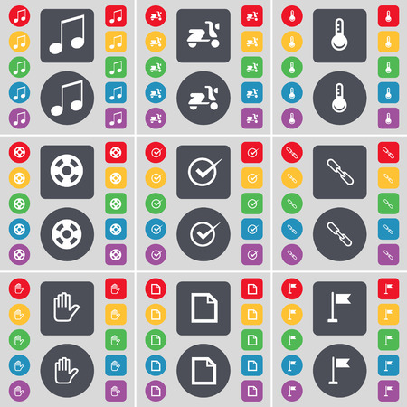 videotape: Note, Scooter, Thermometer, Videotape, Tick, Link, Hand, File, Golf hole icon symbol. A large set of flat, colored buttons for your design. illustration Stock Photo