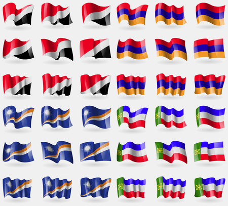 principality: Sealand Principality, Armenia, Marshall Islands, Khakassia. Set of 36 flags of the countries of the world. illustration Stock Photo