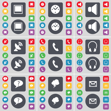 chat window: Window, Clock, Sound, Satellite dish, Receiver, Headphones, Chat bubble, Thunderstorm, Message icon symbol. A large set of flat, colored buttons for your design. illustration