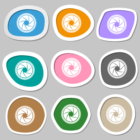 and aperture: diaphragm icon. Aperture sign. Multicolored paper stickers. illustration Stock Photo