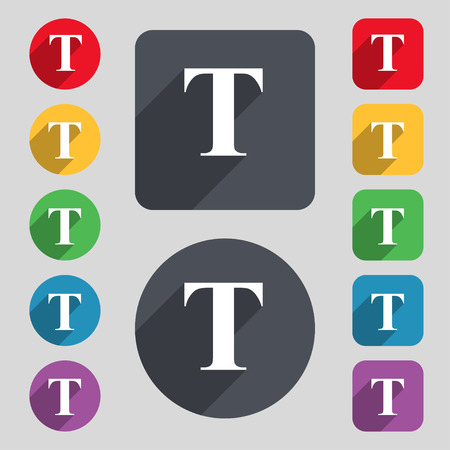 Text edit icon sign. A set of 12 colored buttons and a long shadow. Flat design.