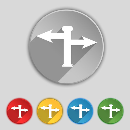 blank road sign: Blank Road Sign icon sign. Symbol on five flat buttons. illustration