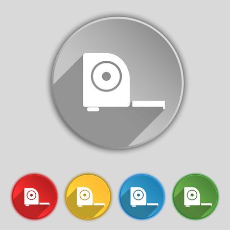 cintas metricas: la construcci�n de la ruleta icono de la muestra. S�mbolo en cinco botones planos. ilustraci�n Foto de archivo