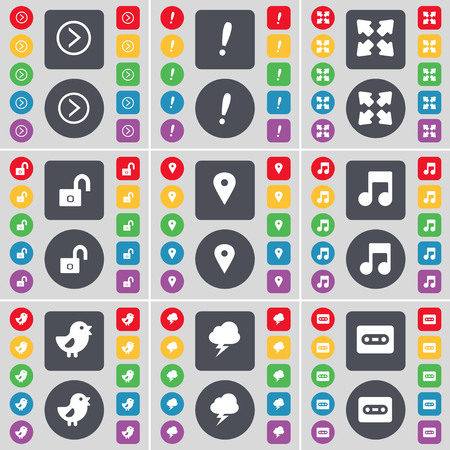 note of exclamation: Arrow right, Exclamation mark, Full screen, Lock, Checkpoint, Note, Bird, Lightning, Cassette icon symbol. A large set of flat, colored buttons for your design. illustration