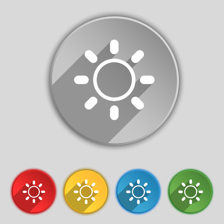 brightness: Brightness icon sign. Symbol on five flat buttons. illustration