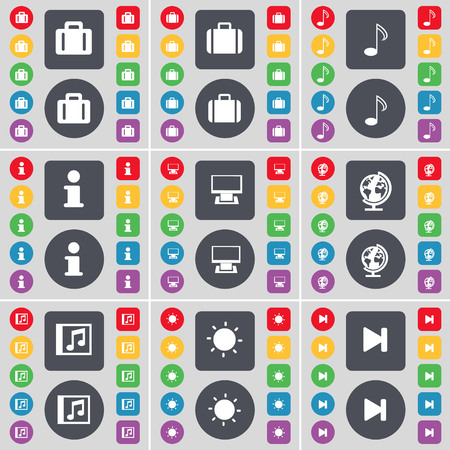window light: Suitcase, Note, Information, Monitor, Globe, Media window, Light, Media skip icon symbol. A large set of flat, colored buttons for your design. illustration