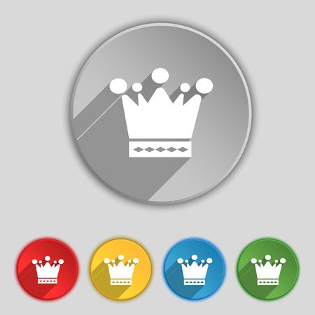 upper class: Crown icon sign. Symbol on five flat buttons. illustration