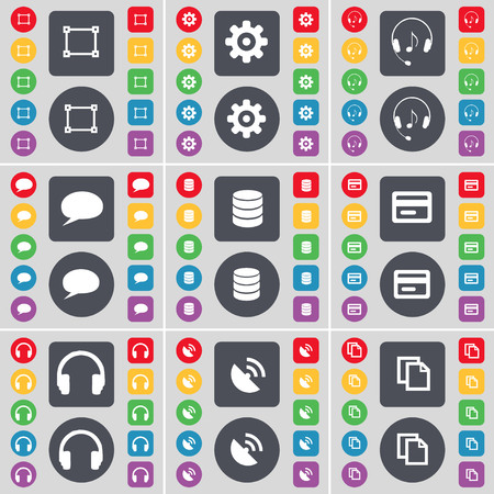 sattelite: Framing, Gear, Headphones, Chat bubble, Database, Credit card, Sattelite dish, Copy icon symbol. A large set of flat, colored buttons for your design. illustration