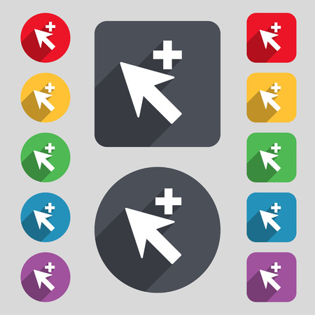 add icon: Cursor, arrow plus, add icon sign. A set of 12 colored buttons and a long shadow. Flat design. Stock Photo