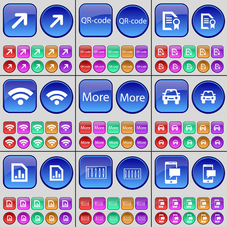 qrcode: Deploying screen, QR-code, File, Wi-Fi, More, Car, File, Equalizer, SMS. A large set of multi-colored buttons. illustration Stock Photo
