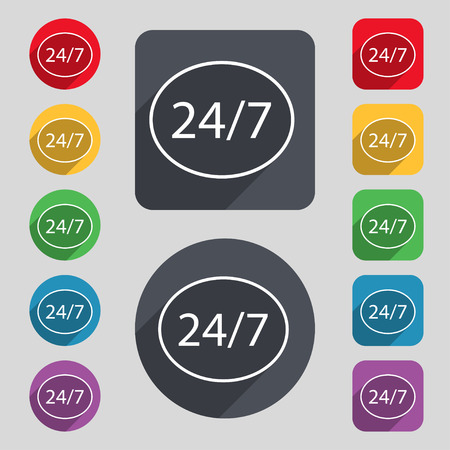 7 days a week: Service and support for customers. 24 hours a day and 7 days a week icon. Set of colored buttons. illustration