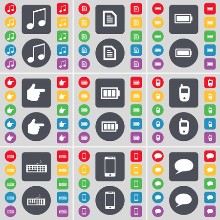 chat bubble icon: Note, Text file, Battery, Hand, Mobile phone, Keyboard, Smartphone, Chat bubble icon symbol. A large set of flat, colored buttons for your design. illustration Stock Photo