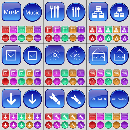 arrow down: Music, Cutlery, Network, Arrow down, Star, Discount, Arrow down, Rocket, Halloween. A large set of multi-colored buttons. illustration