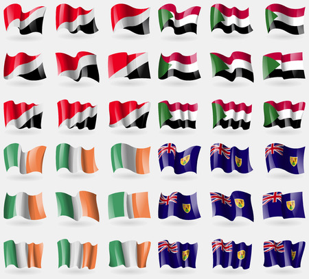 the turks: Sealand Principality, Sudan, Ireland, Turks and Caicos. Set of 36 flags of the countries of the world. illustration