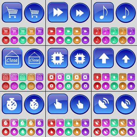 satellite dish: Shopping cart, Rewind, Note, Close, Processor, Arrow up, Stop watch, Hand, Satellite dish. A large set of multi-colored buttons. illustration