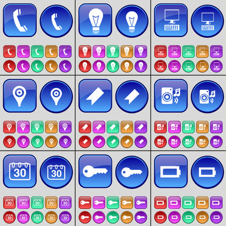 checkpoint: Receiver, Light bulb, PC, Checkpoint, Marker, Speaker, Calendar, Key, Battery. A large set of multi-colored buttons. illustration