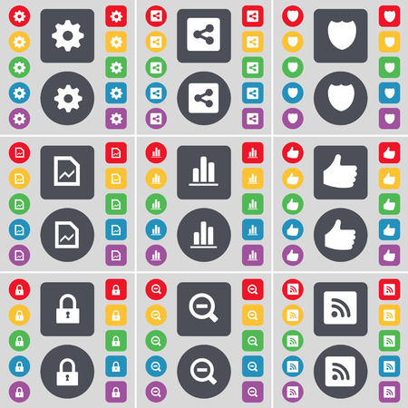 file share: Gear, Share, Badge, Graph file, Diagram, Like, Lock, Minus, RSS icon symbol. A large set of flat, colored buttons for your design. illustration