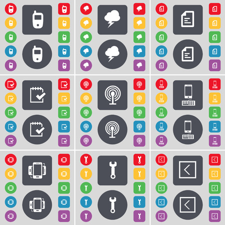 arrow left icon: Mobile phone, Cloud, File, Survey, Wi-Fi, Smartphone, Wrench, Arrow left icon symbol. A large set of flat, colored buttons for your design. illustration