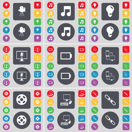 note pc: Film camera, Note, Light bulb, Monitor, Battery, Information exchange, Videotape, PC, Link icon symbol. A large set of flat, colored buttons for your design. illustration