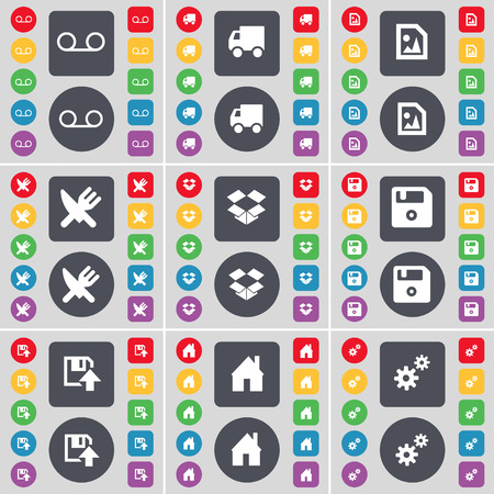 dropbox: Cassette, Truck, Media file, Fork and knife, Dropbox, Floppy, House, Gears icon symbol. A large set of flat, colored buttons for your design. illustration