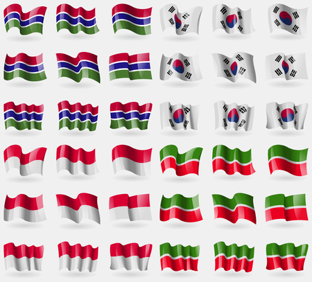 tatarstan: Gambia, Korea South, Monaco, Tatarstan. Set of 36 flags of the countries of the world. illustration
